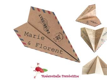 Origami plane, natural, personalized kraft wedding invitation