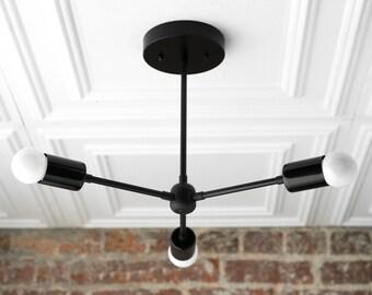 Black Chandelier - Sputnik Light - Industrial Lighting - Ceiling Lamp - Mid Century Modern - Modern Fixture