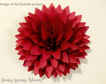12-in Dahlia Paper Flower SVG and PDF template, backdrop flower,  big paper flower SVG cut file, flowers pattern link to video tutorial