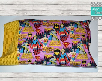 Super Hero, BatGirl, SuperGirl, WonderWoman, travel pillowcase, toddler pillowcase, pillow included