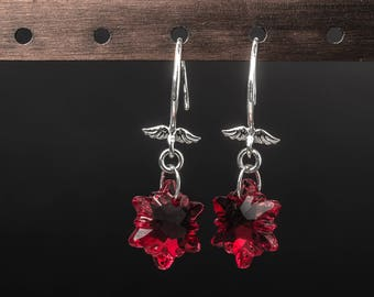 Red edelweiss elegant swarovski crystals and 925 sterling silver earrings