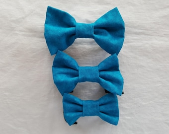 Pet Bow Tie - Bright Teal Blue Tone on Tone