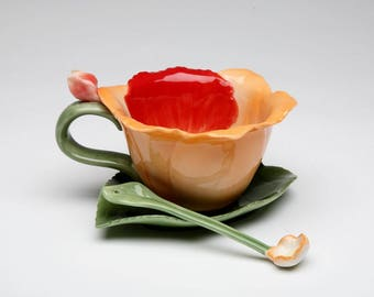 Orchid Cup and Saucer and Spoon Set (10409)
