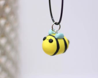 Clay bee charm necklace