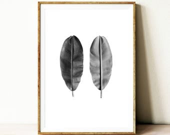 Leaf wall art print, printable poster, black and white leaf wall art, contemporary printable wall art, minimalist wall art, leaves wall art