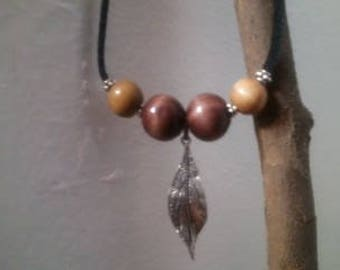 Wood Bead Hanging Silver Leaf Leather Suede Necklace
