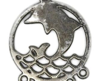 dolphin chandelier, fish chandelier, summer chandelier, beach chandelier, chandelier for earrings, metal chandelier