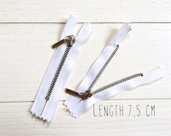 """Closed-End — Strong Metal Tooth Zip — Short Lenght 3"""" (7,5 cm) • White/Silver"""