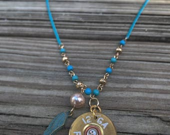 12 Gauge Shotgun Shell Necklace. Turquoise Necklace. Country Style Jewelry. Bullet Jewelry