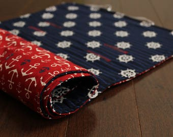 City Mini Stroller/Pram Liner - Nautical Navy and Red - Ready to ship!