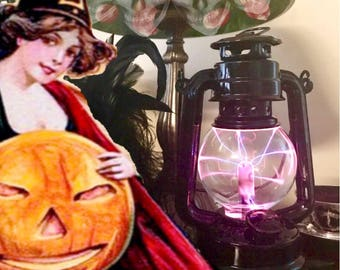 Black Lantern, Gothic, Steampunk Plasma Globe, Victorian, portable steampunk nightlight, Raven, Steampunk Cosplay