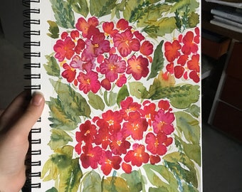 Hot pink Hydrangeas watercolor floral painting 7x10