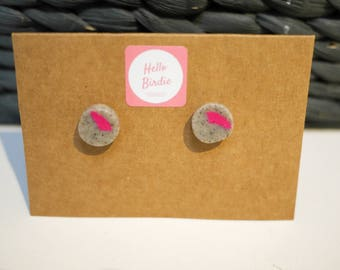 Polymer Clay Earrings - Stone & Pink