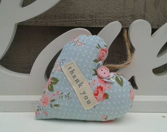 Thank you Teacher shabby chic fabric hanging heart
