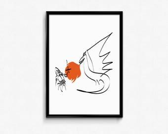 Print on paper - stampa - home decor - decorazioni casa - illustrazione - illustration - cavaliere - drago - fuoco - knight - dragon - fire