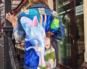 Spirited away. Anime Hayao Miyazaki Hand painted denim jacket
