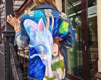 Spirited away. Anime Hayao Miyazaki Hand painted denim jacket (! Please read the description !)