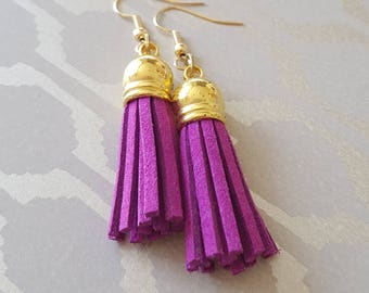 Purple suede tassel earrings
