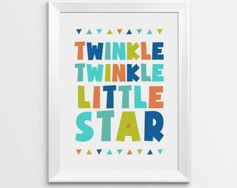 Nursery Wall Art, Twinkle Twinkle Little Star, Kids Room Decor, Nursery Prints, Nursery Quotes, Nursery Poster