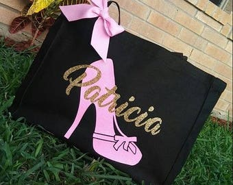 High Heel Canvas Tote   Personalized Tote Bag   Canvas Bag   Personalized Canvas Tote   Handbag