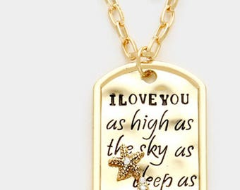 I love you as high as sky as deep as sea , the inspired disc gold necklace