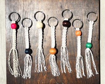 Beaded macrame keychains