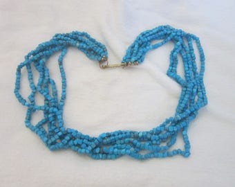 Vintage 7 Strand Turquoise Stone Beaded Necklace