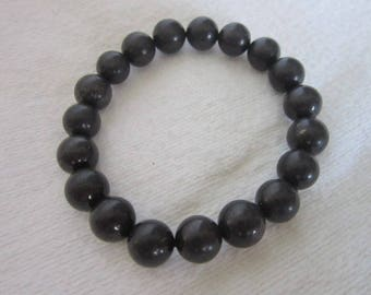 Vintage Black Glass Beaded Stretch Bracelet