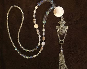 Beaded Silver Tassel Necklace