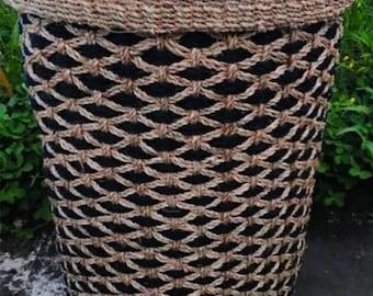 Handmade Round Laundry Abaca Basket