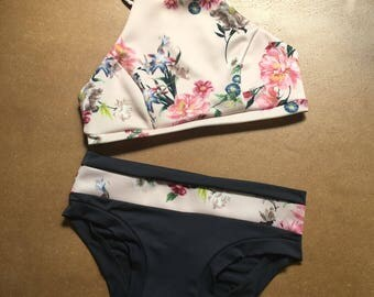 The Amara Set. Matching floral crop top and hot pant shorts.