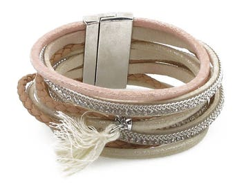 Beige wrap magnetic bracelet with tassel and magnetic closure