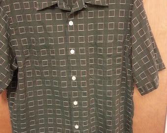 1950s Men's Dark Green Woven Shirt Sleeve Shirt by Bartlay, LTD Vintage Cotton