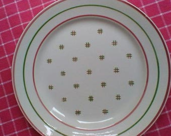 Pretty set of 4 Soup and 4 flat plates - Vintage French Luneville plates