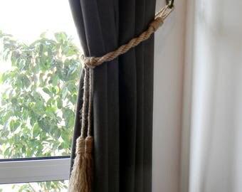Nautical Curtain Tiebacks-Tassel Curtain Tie Backs-Shabby Chic ties