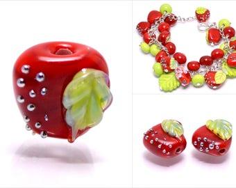 Apple glass bead lampwork fruit bead red apple summer jewelry making bracelet jewelry fruit artisan lampwork handmade mini fruit mini apple