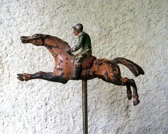 French miniature casino race horse w/jockey in cast iron | La course de chevaux | 19th cent.