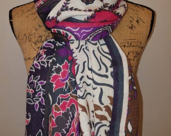 Travelsmith wool floral fun light weight multi-color scarf or shawl