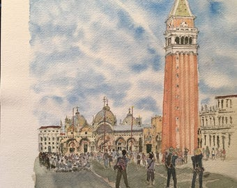 Watercolor of the Piazza San Marco, Venice, Italy