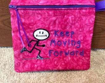 "FREE US SHIPPING, Inspirational Zippered Pouch, MakeUp Bag, Reuseable Sandwich Bag, 7.5"" x 7"""