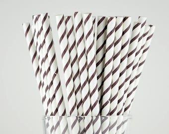 Chocolate Brown Striped Paper Straws - Mason Jar Straws - Party Decor Supply - Cake Pop Sticks - Party Favor