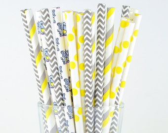 Yellow/ Grey Paper Straws - Chevron/ Striped/ Polka Dots/ Elephant - Party Decor Supply - Cake Pop Sticks - Party Favor