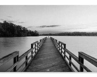 Concord Park Lake Canvas Black White  Pier Landscape Wall Art Picture Home Decor