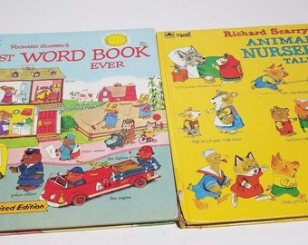 Vintage Richard Scarry's Golden Books Lot of 2 Books Nursery Tales Word Book