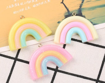 20pcs Rainbow Charms, DIY Resin Charms, Kawaii charms, Colorful charms, Rainbow Necklace supply, bracelet charms