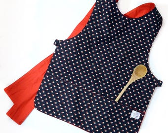 Red and White Stars on Navy - Kid's Apron - Child's Apron - Preschool, Toddler - Baking, Smock, Crafts, Painting