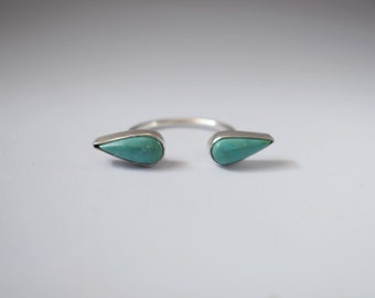 Turquoise Cuff Ring   Open Cuff Ring   Double Stone Ring