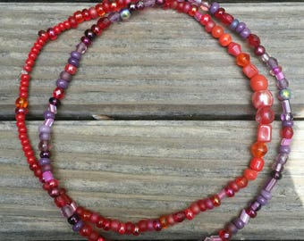 Red and purple anklet set