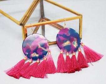 Marble Drop Tassel Earrings (3 color options)