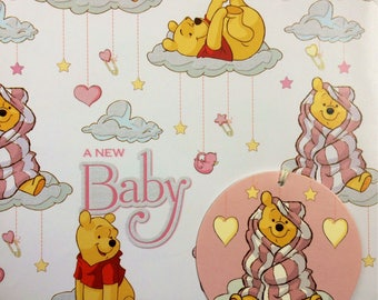 Winnie the Pooh New Baby Gift Wrapping Paper Piglet Disney